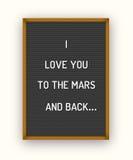 Cita romántica del letterboard Foto de archivo libre de regalías