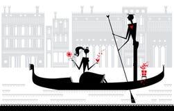 Cita romántica en Venecia. Imagen de archivo libre de regalías