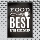 Cita tipográfica de la comida del vintage para el menú o el t-cambio Foto de archivo libre de regalías