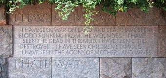 Citaat in het Gedenkteken van Franklin Delano Roosevelt Stock Foto
