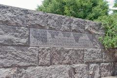 Citaat in het Gedenkteken van Franklin Delano Roosevelt Stock Foto's