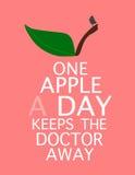 Citaat: Één appel een dag houdt weg de arts Stock Foto's
