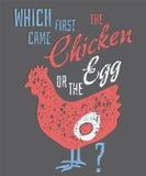 Citaat: Welke kwam eerst, de Kip of het Ei? Stock Afbeeldingen