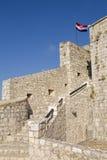Citadel. Croatian flag over the citadel in Hvar, Croatia Royalty Free Stock Photos