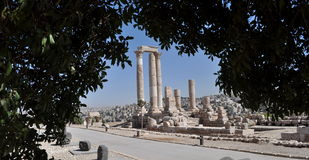 The Citadel. Citadel in Amman viewed from green eye Stock Photo