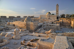 Citadel of Aleppo. The Citadel of Aleppo is a large medieval fortified palace in the centre of the old city of Aleppo, northern Syria Royalty Free Stock Photography