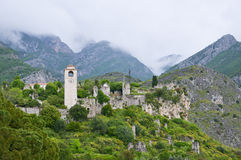 Citadel of Bar. The medieval Citadel in coastal town Bar at Montenegro with mountains in the background Royalty Free Stock Photos