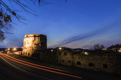 Citadel bastion at night. Draper's Bastion, placed in the north-east corner of the Brasov citadel, has been builded and defended by the goldsmiths' guild between royalty free stock image