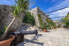 Citadel in Budva. Cannon in Old Town citadel of Budva coastal town, Montenegro Stock Images