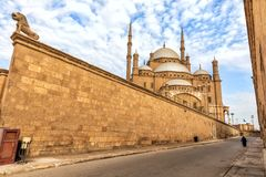 Citadel of Cairo wall and the Mosque of Muhammad Ali view, Egypt royalty free stock photography