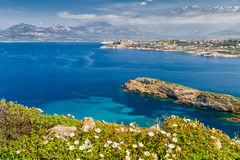 The citadel of Calvi with maquis, sea and mountains Royalty Free Stock Image