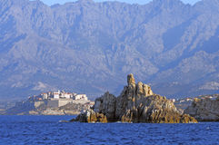 The citadel of Calvi seen from sea stock photography