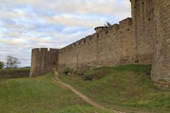 Medieval fortress in Carcassonne. The Citadel in Carcassonne, a medieval fortress in the french department of Aude Royalty Free Stock Images