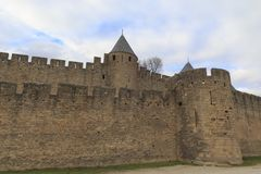Medieval fortress in Carcassonne. The Citadel in Carcassonne, a medieval fortress in the french department of Aude Royalty Free Stock Photography