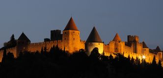 Citadel and castle of Carcassonne, France. Citadel and castle of Carcassonne, XII century, declared World Heritage, France Stock Photo
