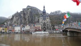 The citadel and church in Dinant stock video footage