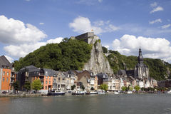 The citadel, the collegiate church and the river Meuse in Dinant Royalty Free Stock Photo