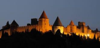 Citadel en kasteel van Carcassonne, Frankrijk Stock Foto