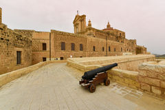 Citadel fortress on Gozo island, Malta. An ancient cannon in the old citadel, Victoria, Gozo Island, Malta Stock Photo