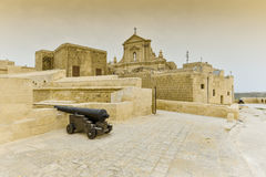 Citadel fortress Gozo island, Malta. An ancient cannon in the old citadel, Victoria, Gozo Island, Malta Royalty Free Stock Photos