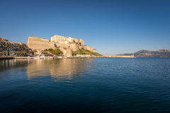 Citadel and harbour entrance at Calvi in Corsica royalty free stock photos