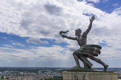 Citadel hill. Bronze statue in Citadel hill Budapest, Hungary royalty free stock images