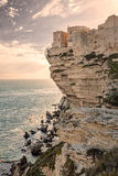 Citadel and houses of Bonifacio above towering white cliffs Stock Photo
