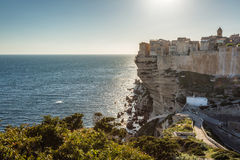 Citadel and houses of Bonifacio above towering white cliffs Stock Photography