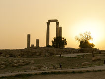 The Citadel Mountain. Ruins, Amman Jordan Royalty Free Stock Image