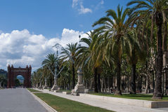 Citadel Park in Barcelona, Spain. Triumphal arch at the end of Passeig de Lluis Companys in Citadel Park in Barcelona, Spain royalty free stock image