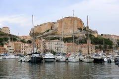 Citadel and port of Bonifacio Corsica stock photography