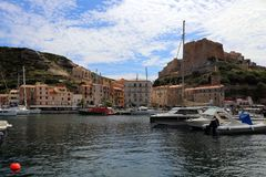 Citadel and port of Bonifacio Corsica stock photo