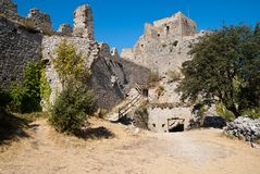 Citadel of Puilaurens. View of Chateau Puilaurens from inside Royalty Free Stock Images