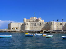 The Citadel of Qaitbey. Used to be a muslim fort in the egyptian city of Alexandria. In these days it serves as a museum.  stands on the exact same spot where royalty free stock image