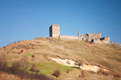 CITADEL RUINS. Panoramic image of the Costesti Castle, Romania Stock Image