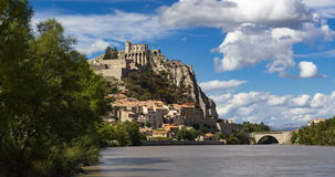 Citadel of Sisteron with passing clouds in summer. Alps, France stock video footage