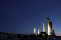 The Citadel and Temple of Hercules, Amman, Jordan. The Citadel and Temple of Hercules is a torist attraction located on top of hill in Amman, Jordan Stock Photo