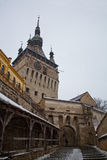 Citadel tower in a medieval city. The clock tower from the Sighisoara medieval citadel Stock Photography