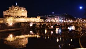 The Citadel towered above the river Tiber by night Royalty Free Stock Photography