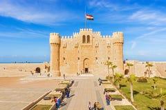 Citadel van Qaitbay-vesting, Alexandrië, Egypte Stock Foto's