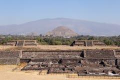Citadela de Teotihuacan e pirâmides, México Fotografia de Stock Royalty Free