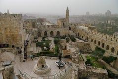 Citadela do Jerusalém e torre de David com arquitetura da cidade na tempestade de areia Fotografia de Stock