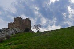 Citadell i Genoese fästning i Sudak, Krim arkivfoto