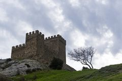 Citadell i Genoese fästning i Sudak, Krim royaltyfria foton