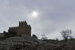 Citadell i Genoese fästning i Sudak, Krim royaltyfri foto