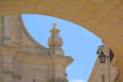 Citadella in Victoria (Ir-Rabat). Massive defensive stone walls of Victoria (Ir-Rabat Għawdex) on Gozo Island, ornamental towers and lamp Royalty Free Stock Photography