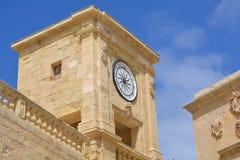 Citadella in Victoria (Ir-Rabat). Massive defensive stone walls of Victoria (Ir-Rabat Għawdex) on Gozo Island, tower with clock Stock Photos