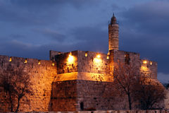 Citadelle antique à l'intérieur de vieille ville la nuit, Jérusalem Images libres de droits