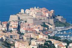 Citadellen av Calvi på den Korsika ön Arkivfoton
