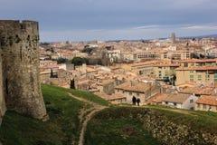 Citadellvall och byn Carcassonne france Royaltyfria Bilder